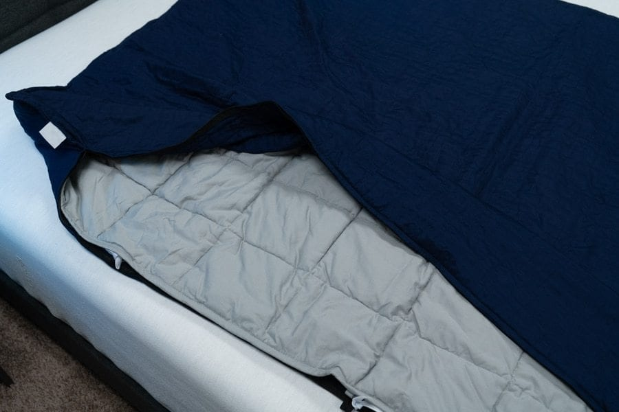 Gravity Weighted Blanket unbuttoned