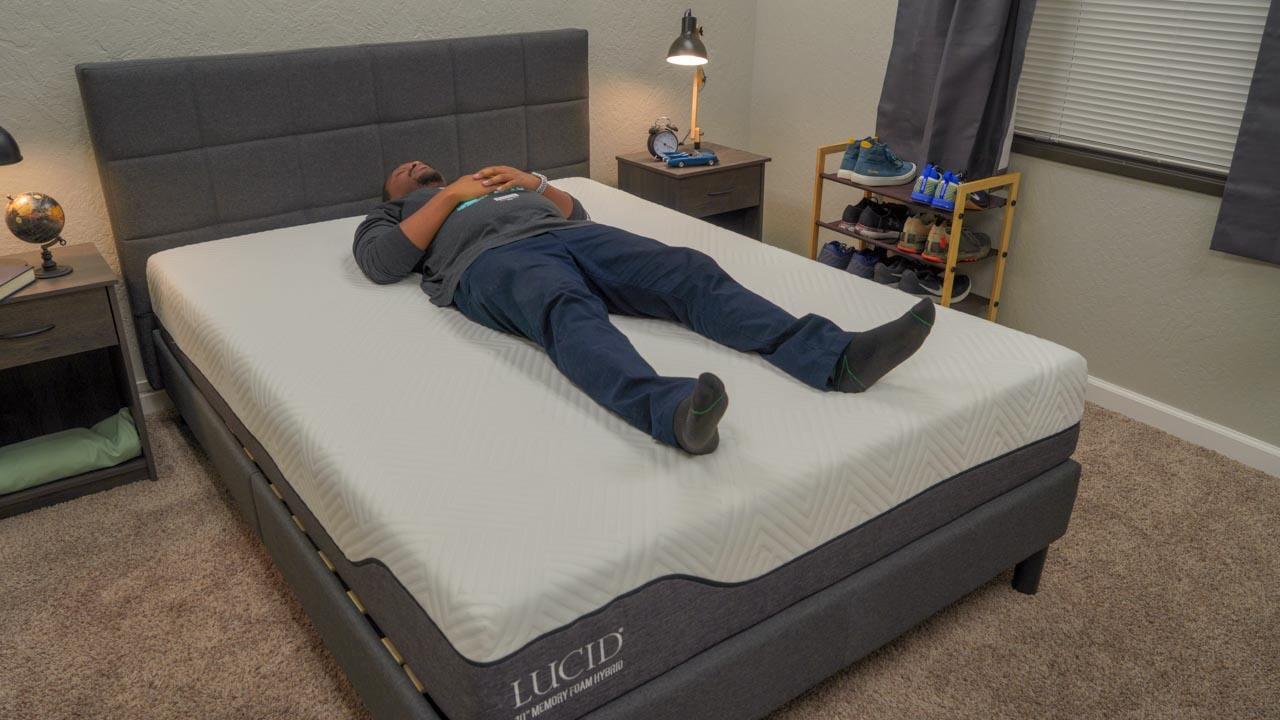 lucid memory foam hybrid mattress back sleeper
