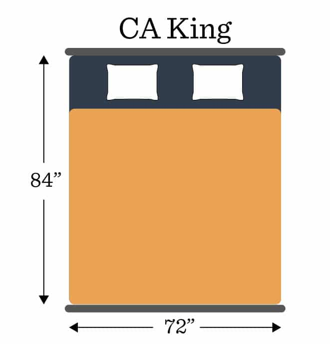 Mattress Sizes CA King Dimensions Graphic