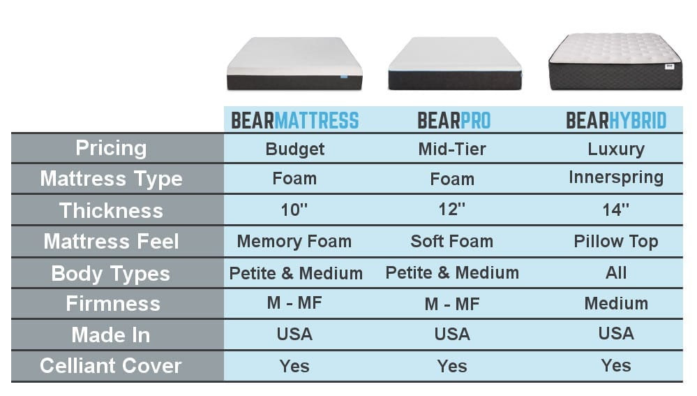 bear mattress reviews chart